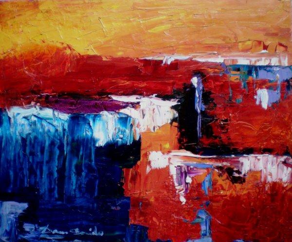 Peinture abstraite sur toile peinture l 39 huile au for Peintures sur toile