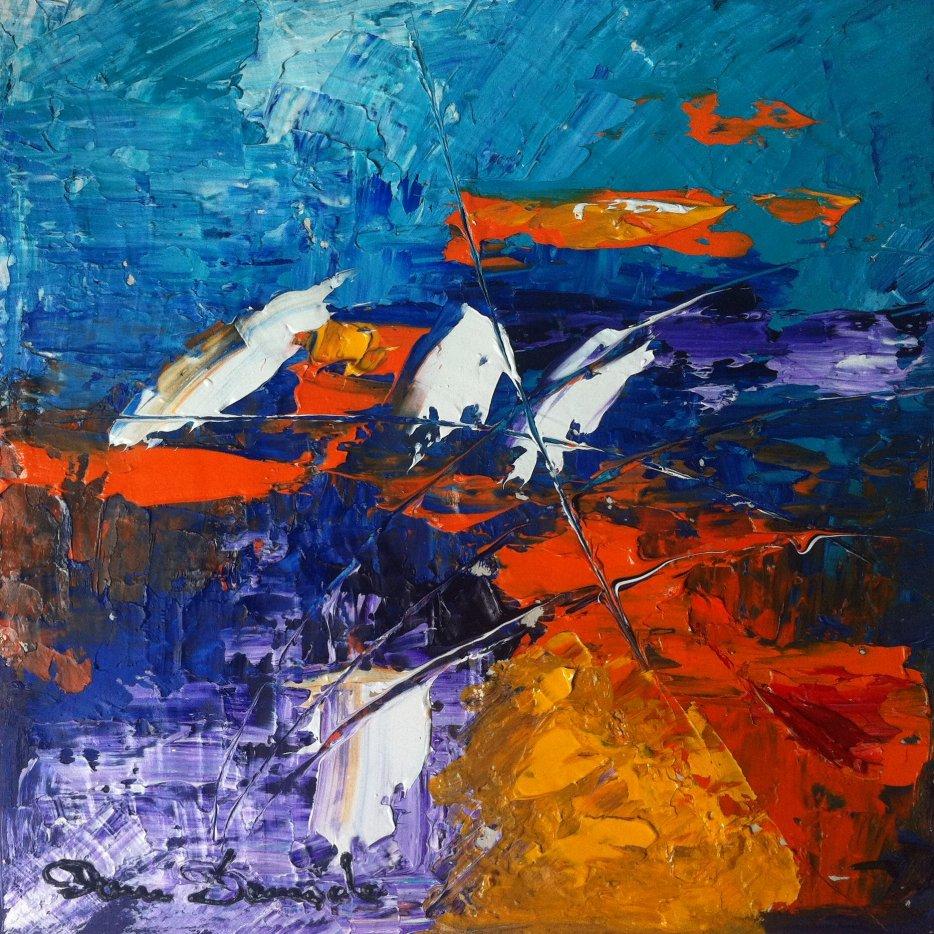 Peinture abstraite au couteau art contemporain huile au couteau sur toile 30 30 ebay - Peinture au couteau huile ...