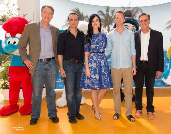 Katy Perry assiste au photocall pour son nouveau film Les Schtroumpfs 2 en prsence de Neil Pattrick Harris. ( lundi (22 Avril)  l'Htel Ritz Carlton  Cancun, au Mexique.) 